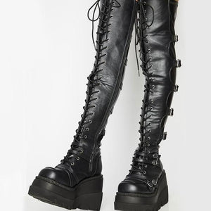Platform Buckle Tight Boots - Wearable Tattoo