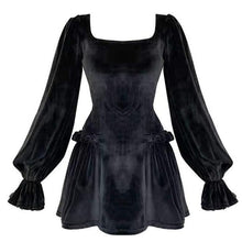 Load image into Gallery viewer, Gothic Velvet Puff Sleeve Dress
