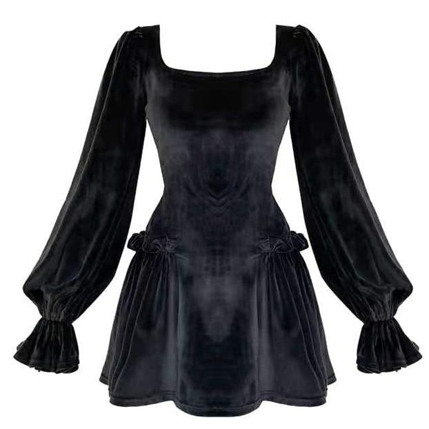 Gothic Velvet Puff Sleeve Dress