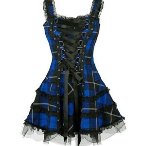 Vintage Goth Plaid Dress