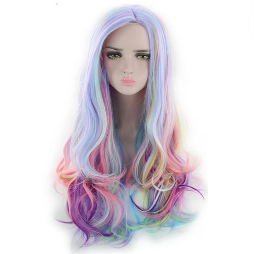 Multicolor Long Curly Synthetic Wig