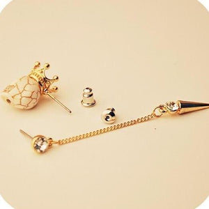 Crowned Skull & Rivet Drop Set Earrings - Wearable Tattoo