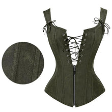 Load image into Gallery viewer, Front & Back Lace Zipper Corset - Wearable Tattoo