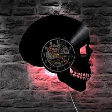 Load image into Gallery viewer, Skull Head Vinyl Record Wall Clock With Color Change Light