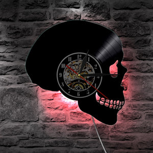 Skull Head Vinyl Record Wall Clock With Color Change Light