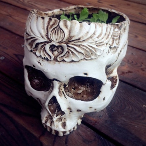 Gothic Skull Head Resin Flower Pot