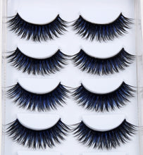 Load image into Gallery viewer, 6 Pairs False Black + Blue Eyelashes