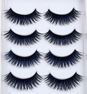 6 Pairs False Black + Blue Eyelashes