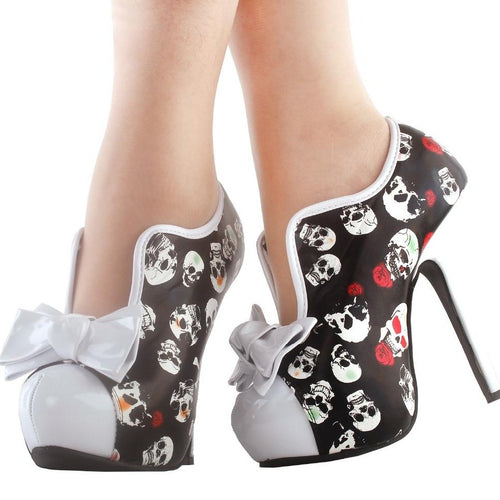 60's Style Bow Scull Boots - Wearable Tattoo