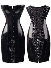 Load image into Gallery viewer, Shiny PVC Leather Look Gothic Corset Dress