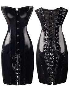 Shiny PVC Leather Look Gothic Corset Dress
