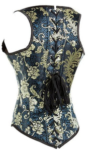 Gothic Embroidery Under Bust Steel Boned Corset Vest