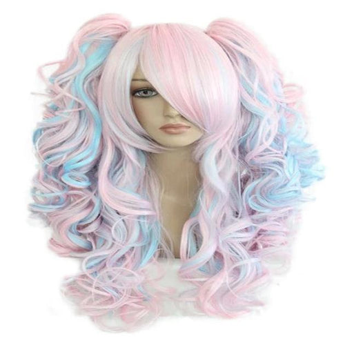 Pink / Blue Wig With Ponytails - Wearable Tattoo