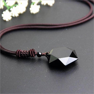 Natural Black Obsidian Protection Pendant Necklace - Wearable Tattoo