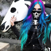 Load image into Gallery viewer, Punk Goth Hooded Skeleton Print Mask + Long Sleeve Crop Tops