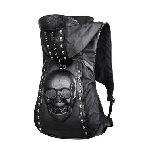 3D Skull Leather Laptop Backpack / Hoodie - Wearable Tattoo