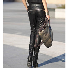 Load image into Gallery viewer, Sheepskin Leatherette Zipper Motorcycle Pants