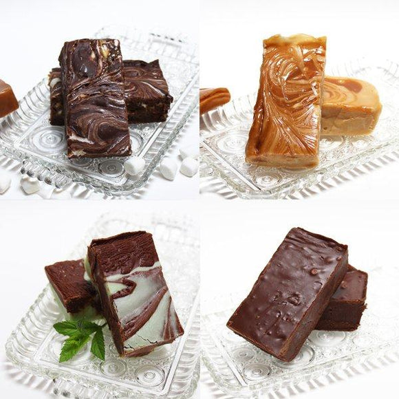 No Nut Fudge Sampler - 2 pounds of fudge (Chocolate, Dulce de Leche, Gooey Mess, Chocolate Mint)