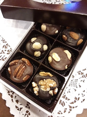 6 Piece Box Nut Clusters - Chocolate Nut Candy - Assorted Chocolates (Milk and Dark)