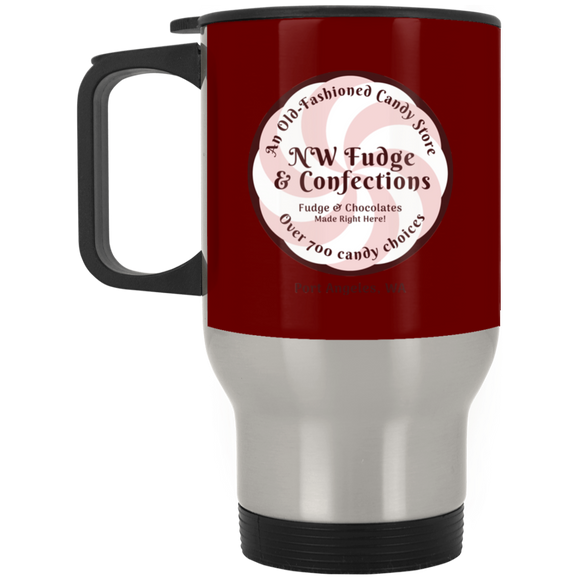 NW Fudge & Confections Silver Stainless Travel Mug