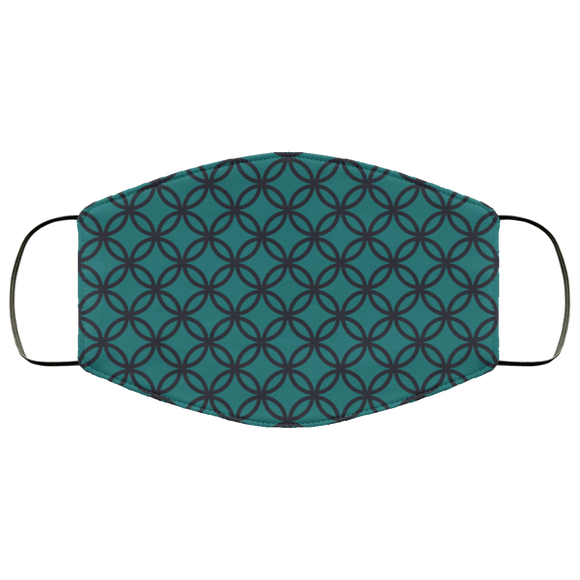 MCM Circles (teal and black) Face Mask