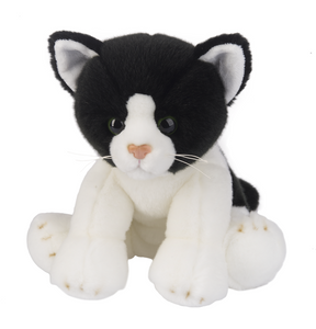 "Plush Kitty, 12"" Stuffed Black and White Cat"
