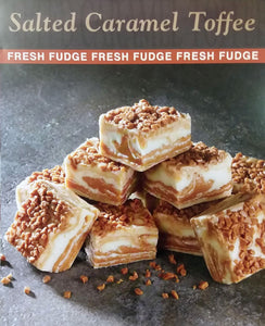 Salted Caramel Toffee - Salted caramel ribbons in vanilla fudge, topped with sea salt and toffee bits
