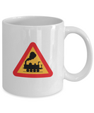 Railroad Crossing Sign - 11 or 15 oz mugs - gift for train lovers