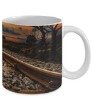 Sunset Tracks - 11 or 15 oz Mug for Train Lovers - gift for men, guys, birthday, Father's Day