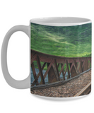 Train Tracks to Green Hills - 11 or 15 oz mug - gift for men, guys, train lovers