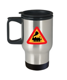 Railroad Crossing Sign - Travel Mug - gift for train lovers