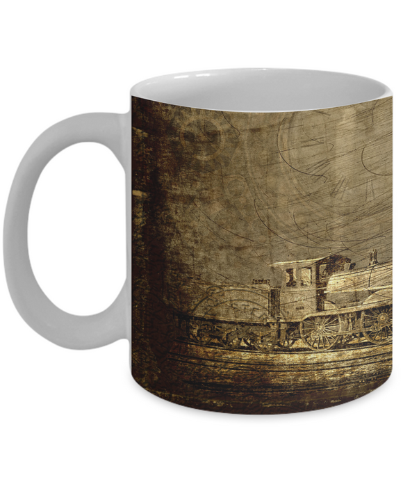 Sepia Locomotive  - 11 or 15 oz mug for train lovers, gift for men