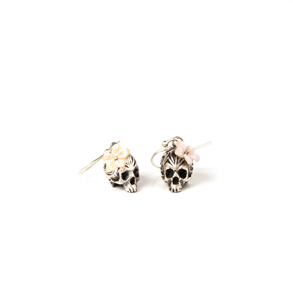 Skull and Flower- Silver