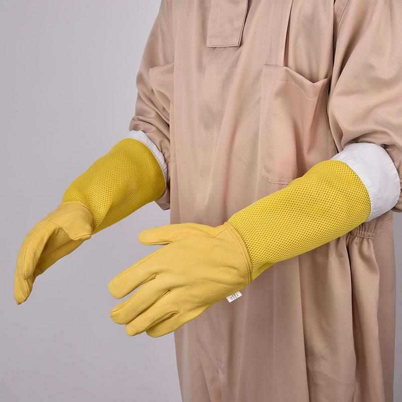 1 Pair Beekeeping Gloves Yellow Netted Goatskin Gloves Long Sleeves Bee Protective Gloves Tools For Beekeepers