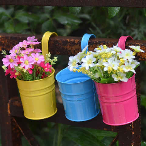 10pcs Flower Metal Hanging Pots Garden Balcony Wall Vertical Hang Bucket Iron Holder Basket With Removable Tin Home Decor
