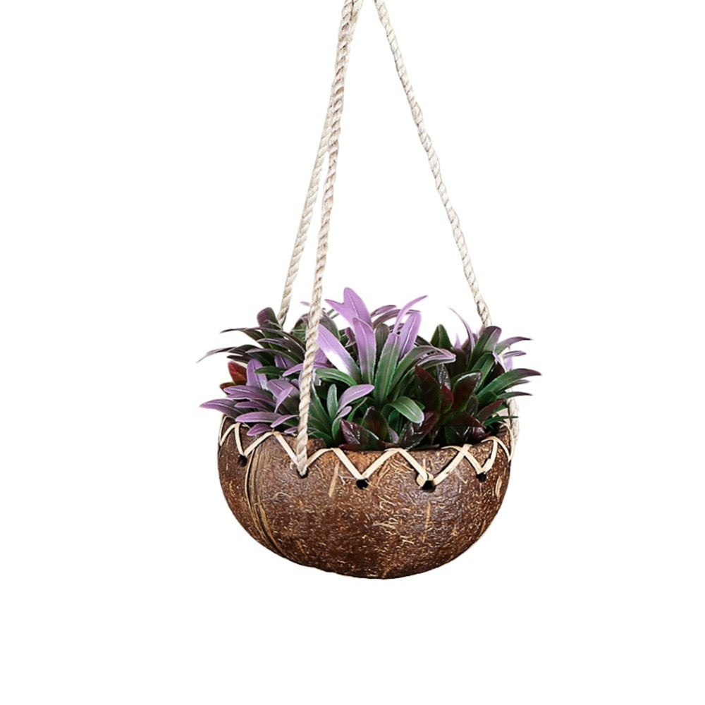14x9cm Coconut Shell Succulent Plant Wall-hung Basin Coconut Shell Hanging Basket Flower Pot for Balcony Wall Hanging Decorative