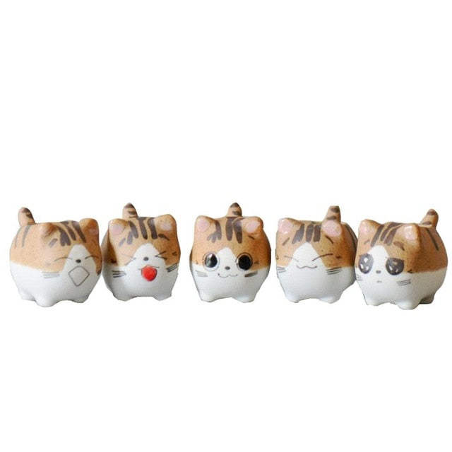 1PC Cat Sweet Home Ceramic Plant Pots Micro Cute Mini Potted Succulents Small Flower Pots Bonsai Creative Cartoon Planter