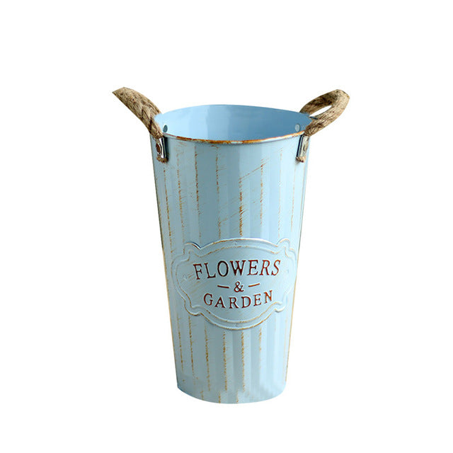1pc Pastoral Style Hand-painted Metal Buckets simulation artificial flower Pots flowers arranging accessories home garden decor