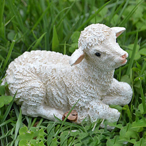 1pcs Lovely White Sheep Gardening Micro-Landscape Mini Simulated Life-like Sheep Small Ornament