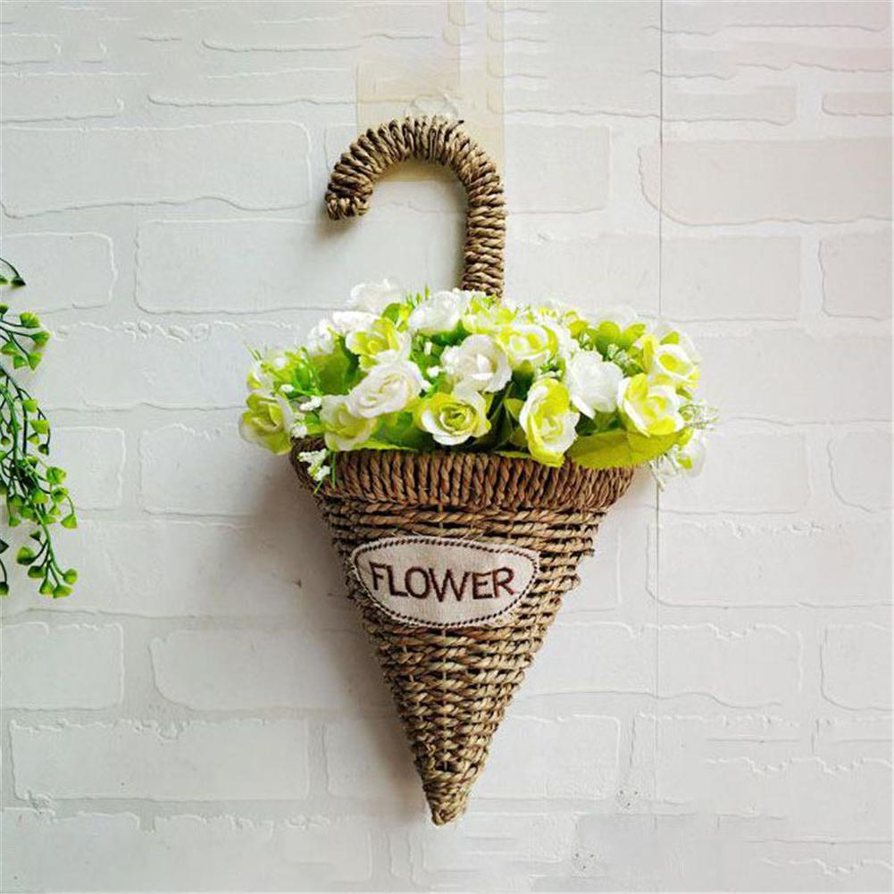 2Pcs/set Umbrella Type Handmade Straw Braided Hanging Flower Basket Hand-Woven Craft Home Decoration Storage Basket