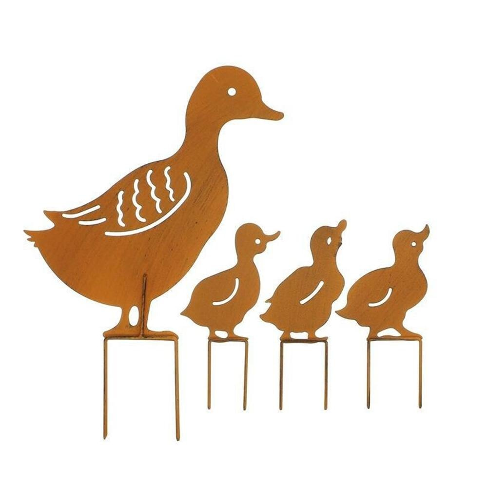 4pcs/lot European style Iron retro garden plugs rusty retro ducks a family of four Garden decoration Plugin