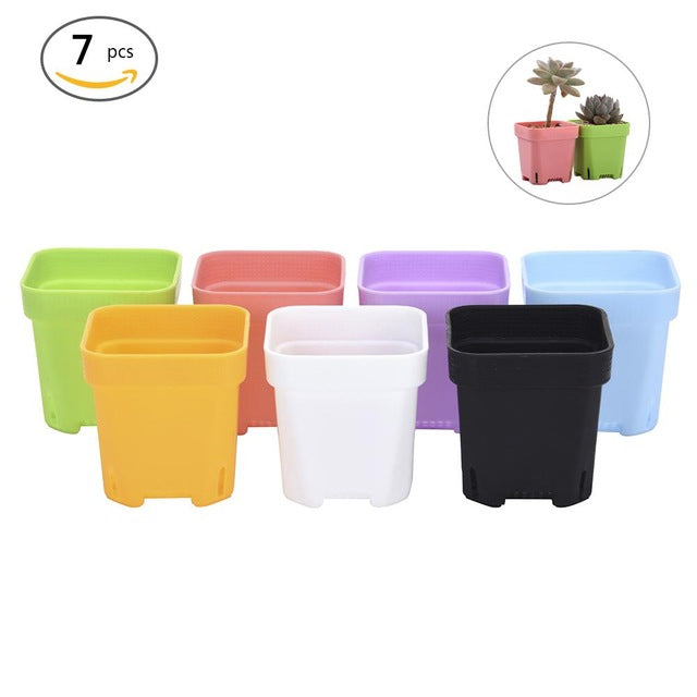 7PCS Colors Mixing Thicker Bottom Octagonal Colorful Square Plastic Plant Pot Planter Succulents Plastic Pot 6.8*6.8cm