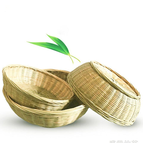 Bamboo Green Hand-woven Flower Basket Household Fruit And Vegetable Bamboo Basket Bamboo Green Weave Round Bread