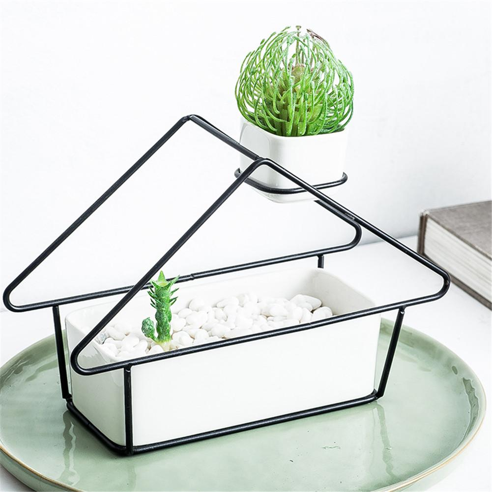 Europe Ins House Shaped Simple Ceramic Succulent Flower Pot Wall plant hanger Iron Vase With Flower Stand