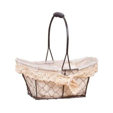 European Vintage Iron Wire Mesh Basket Succulent Dried Flower Flower Pot Green Plant Hand-held Flower Basket