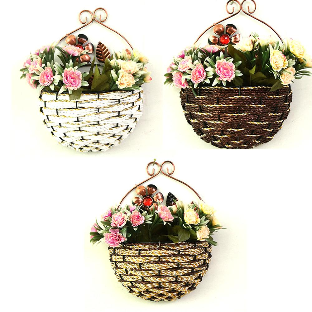 European-style Iron Art Rope Artificial Wall Hanging Flower Green Plant Basket Wall Hanging Flower Pot