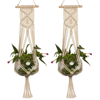 Garden Handmade Rope Plant Hanger Basket Pots Holder Natural Fine Hemp Rope Net Flower Pot Plant Lanyard Garden Balcony Decor