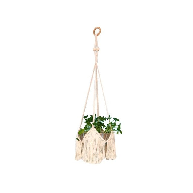 Gardening Green Wall Hand-Knitted Plant Hanging Basket Flower Pot CottonRope Braided Flowerpot Net Pocket