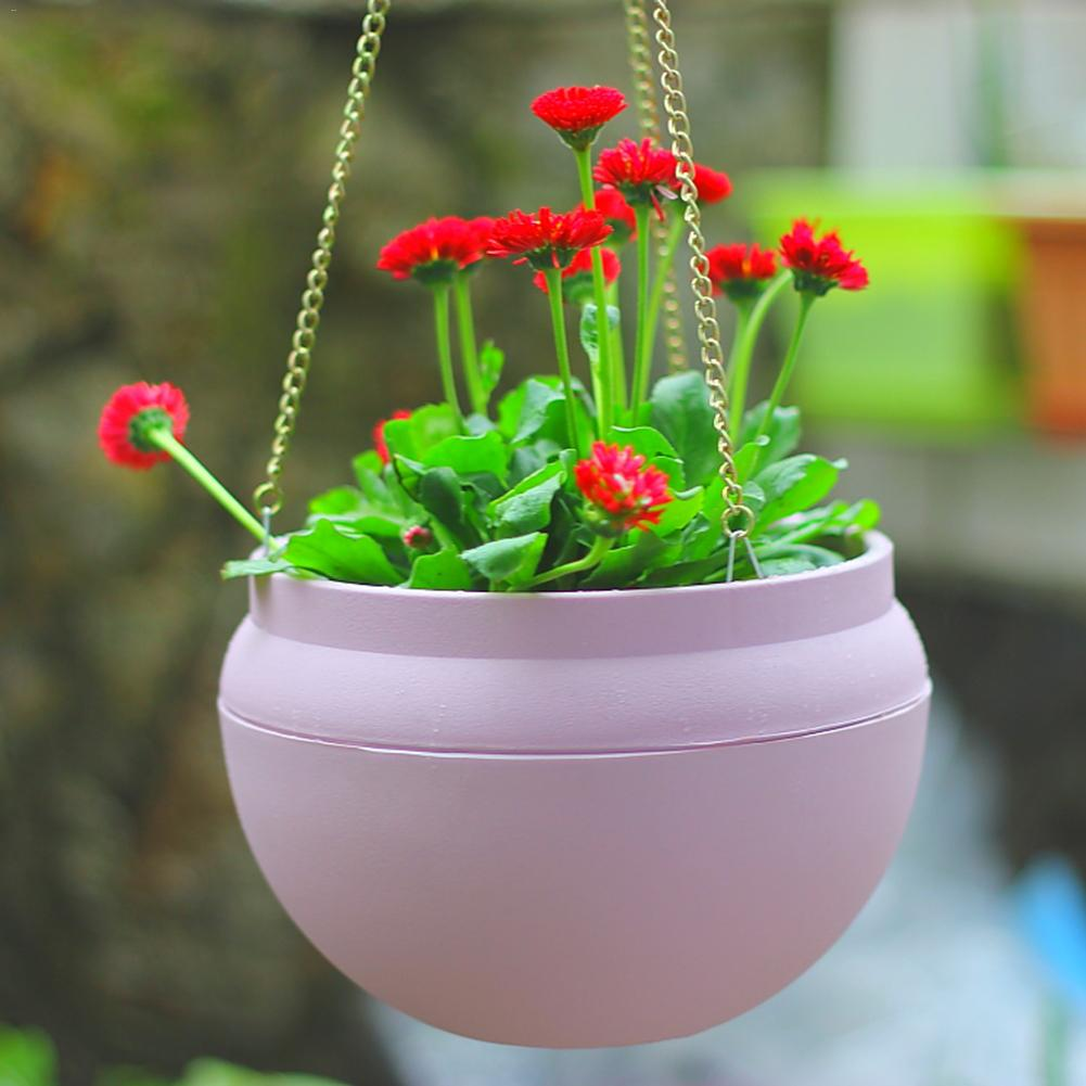 Gardening Plastic Flower Pot Bowl-Shaped Hanging Planter Wall Hanging Green Lob Flower Pot with Iron Chain
