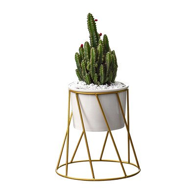Geometric Wall Decor Container European Simple Metal Succulent Green Plant Ceramic Iron Frame Flower Pot Combination